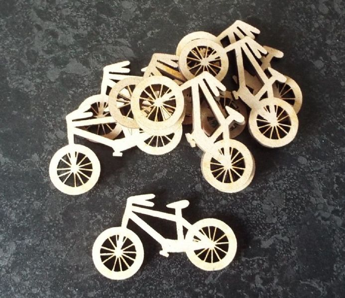 wooden crafts BICYCLES shapes, laser cut 3mm mdf embellishments decoupage,BIKES